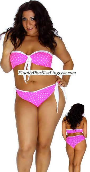 44ce5ad6de 1108 Bandeau top with tie and matching shorts. Shown in neon pink white dot  print lycra ...