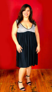 SA5000LAX-Sleeveless Empire Waist Dress.Shown:Blk Microfiber,Blk/Wht Daisy Lace.