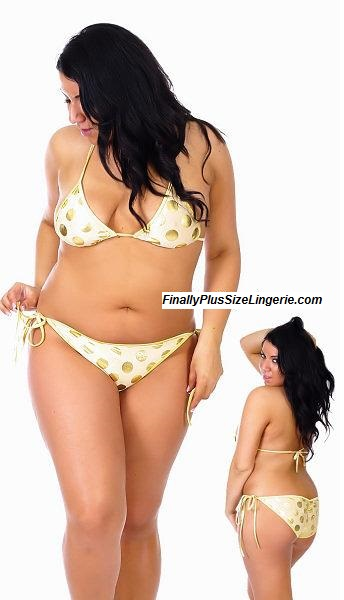 0da0f1b1ea659 S0827FLX Plus size metallic polka dot scrunch butt bikini with lined top  and tie sides.